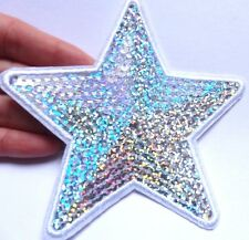 large silver star patches sequin applique patch motif iron on sew badge UK 11cm