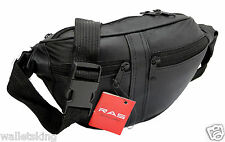 Men's / Women's Real Leather Quality Waist Bum Bag Travel Pouch Fanny Pack 1003