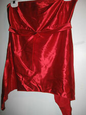 New junior FREDERICK'S Of Hollywood SHIRT large red satin L misses