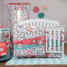 NURSERY 4pc Floral Swirl GIRLS BEDDING SET Baby Crib Teal Coral Chevron Quilt