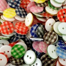 12mm Gingham Checked Buttons Acrylic Assorted Colours x 50 pcs B185