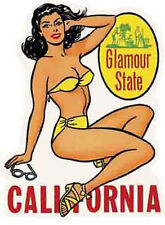 """California """"Glamour State"""" Bathing Beauty   Vintage-Style   Travel Sticker/Decal"""