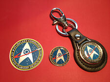 STAR TREK, `ADVANCED STARSHIP DESIGN`  KEY RING, BADGE &  FREE PHONE STICKER
