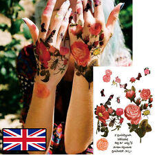 PINK ROSE TATTOO TEMPORARY TATTOO FLORAL FLOWER TATTOO WATER COLOUR RETRO CHIC