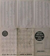 1950 SENCO RECEIVING TUBE BASING DIAGRAMS FOLDOUT CHART (SENCO RADIO, NEW YORK
