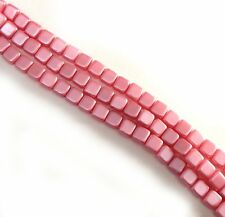 Pink 6mm Square Glass Czech Two Hole Tile Bead 25 Beads