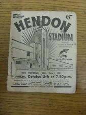 08/10/1951 Greyhound Racing: Hendon Stadium - Official Programme (rusty staples,