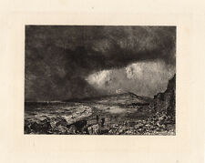 "WOW SIGNED 1800s JOHN CONSTABLE Antique Etching ""Weymouth Bay"" Free Framing COA"