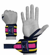 EVO Ladies Elasticated Gym Straps Weightlifting wrist Support Wraps  Gloves