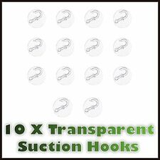 10 X Pack Transparent Wall Hooks Hanger Kitchen Bathroom Suction Cup Suckers Uk