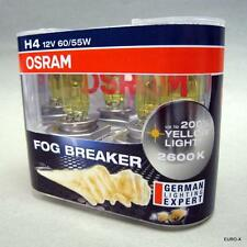 100% Original Osram Fog Breaker 2600K 60/55W H4 Yellow Globes Headlight Bulbs