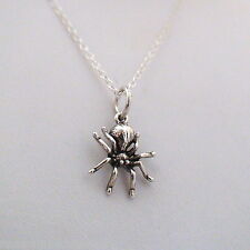 Tiny Spider Necklace - 925 Sterling Silver - Insect Bug Arachnid Halloween NEW