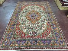 "Semi Antique Hand Knotted TABRIZ Persian Rug Carpet Geometric 7x10,6'5""x10'1"""