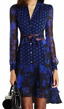 NWT DIANE VON FURSTENBERG CATHERINE FLORAL DAZE DOT BLUE SILK CHIFFON DRESS 12
