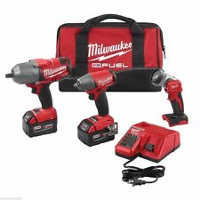 "Milwaukee 2896-23  M18 1/2"" 3/8"" Drive Impact Wrench Combo Kit 5.0 Batteries"