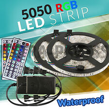 2 5M SMD RGB 5050 Waterproof LED Strip light 300 44 Key Remote 12V Supply Power