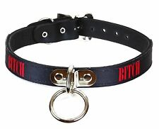 Bitch Leather Bondage ID Collar Fetish Choker Punk Gothic Rock Sexy Name Collar