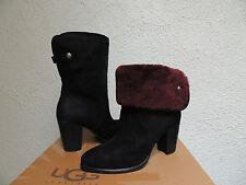 UGG LAYNA BLACK/ PORT SUEDE/ SHEEPSKIN CLOG ANKLE BOOTS, US 8/ EUR 39 ~NEW