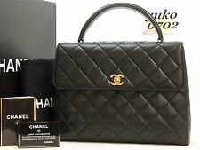 w5516 Auth CHANEL Black Lamb Skin Kelly Hand Bag Gold HW