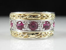14K Two-Tone 1.33ctw Pink Tourmaline Diamond Ring Estate Ring Size 9 10.7 grams