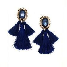 ELEGANT ZARA BLUE STONE BLUE TASSELS DROP EARRINGS- NEW