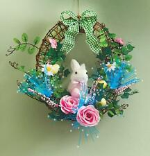 Fiber Optic Lighted Easter Bunny Eggs Flowers Spring Door Wreath