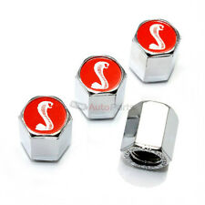 4 Ford Mustang Cobra Shelby Red Logo Chrome ABS GT500 Tire/Wheel Stem Valve CAPS
