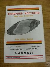 12/02/1978 Rugby League Programme: Bradford Northern v Barrow [Challenge Cup] (T