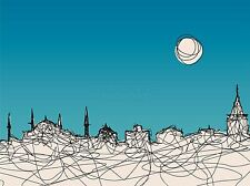 ART PRINT POSTER PAINTING DRAWING ABSTRACT IMPRESSION ISTANBUL MOON LFMP0903