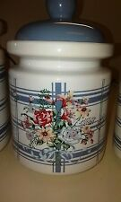 Antique Country Blue and White Kitchen Canisters 3 total