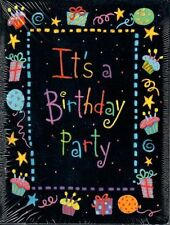 It's a Birthday Party Invite Invitation Black Unisex Adult Child 10ct Cake etc