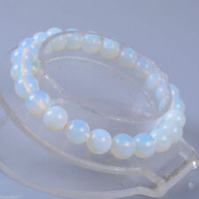 Wholesale 8mm Opal Moonstone Round Gemstone Beads Stretchable Bracelet 8.2""