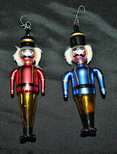 Set 2 Blown Glass Christmas Ornaments Nutcrackers Soldiers Hand Painted Italy