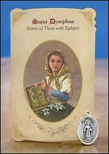 St Dymphna (Epilepsy) Healing Holy Card with Medal NEW SKU MC026