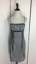 NWT $300 Betsey Johnson Black White Gingham Checkered Lace Pin-Up Mini Dress 6 S