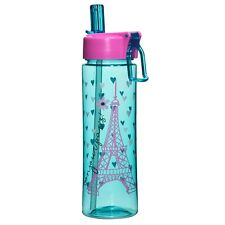 "Water Bottle - ""Bonjour Paris"" - Eiffel Tower Design w/flip-up Straw (BPA free)"