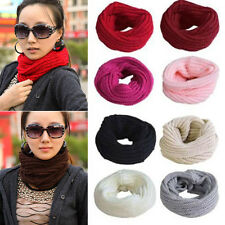Black Fashion Winter Warm Infinity Circle Cable Knit Cowl Neck Long Scarf Shawl