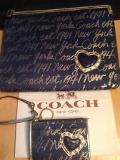 COACH NEW YORK SCRIPT NAVY BLUE GOLD Cosmetic Case & ID Purse Wallet Set!