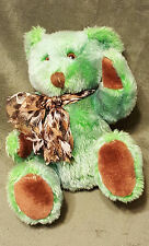 "SKM Plush Green Brown Teddy Bear w/ Bow 10"" Tall"