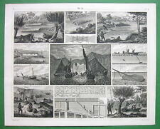 FISHING Fresh & Marine by Hook & Line Nets Fire - SUPERB 1844 Antique Print