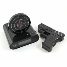 Laser Target Gun Shoot to Stop Game Alarm Clock LCD Screen -Black+Carabiner Y