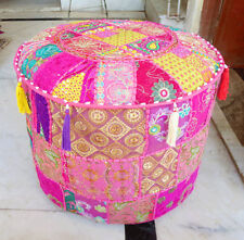 Indian Pouf Ottoman Footstool Vintage Ethnic Chair Moroccan Pouffe Bohemian*Pink