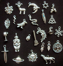 25 Pagan Wiccan Charms Mix Silver Tone Metal