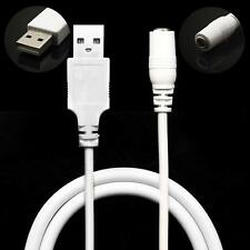 USB 2.0 A Male Plug to DC Power Jack Female 3.5mm x 1.35mm Cord White Cable 36cm