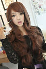Full Wig Wigs Cosplay Party New Fashion Womens Lady Wavy Curly Brown Long Hair