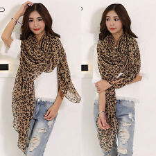 Women Fashion Long Style Wrap Shawl Leopard Chiffon Scarf Scarves Stole Gift BSA