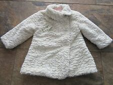 BNWT Girls John Lewis Coat 3 Years Cream Faux Fur Swing Flower Dress Up Button