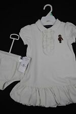 NWT Ralph Lauren Baby Girls Bubble Cream Ruffle Bear Polo Dress Set 18M