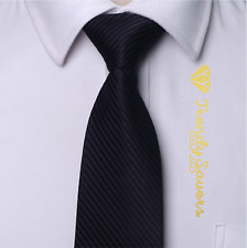 Luxury Black Striped Men's Tie Formal Silk Neckties 8CM Wide Groom Necktie #12