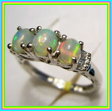 Ethiopian Welo Opal Diamond 3stone Ring Platinum  Sterling Silver  sz 5 6 7 8 9